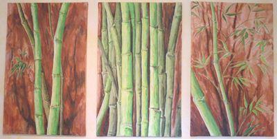 Triptychon Bambus. Acryl auf Leinwand. Hängt im Behandlungszimmer der Praxis meiner Frau.