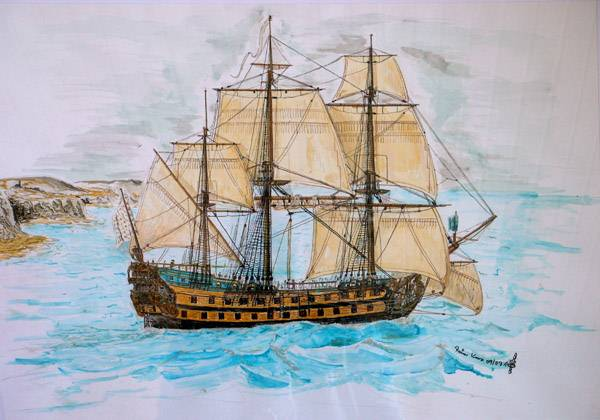 64-Kanonen Schiff FLEURON. Die Fleuron war ein bahnbrechender Entwurf und ein sehr erfolgreiches Kriegsschiff der französischen Marine. Der etwas gebogene Rumpf ist als Stilmittel gewollt und der damaligen Art, Heck und Galion auf einem Bild zu zeigen, angelehnt. Technik: Aquarell, Buntstift und ein wenig Acryl gemischt. Größe ca: 40x60 im Rahmen