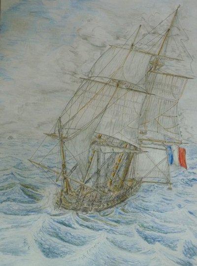 Fregatte Venus 1782, Buntstift auf Papier im Rahmen ca.50x70cm.