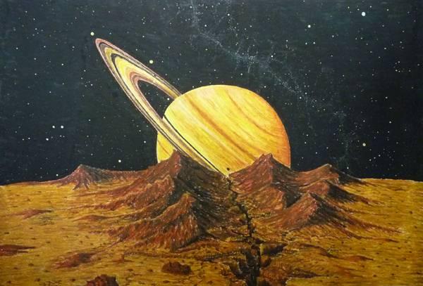Saturn vom einem Mond aus betrachtet, er hat ja mehrere, aufgehend. ca. 70x100 Ölkreide auf Papier.