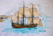 64-Kanonen Schiff FLEURON. Die Fleuron war ein bahnbrechender Entwurf und ein sehr erfolgreiches Kriegsschiff der französischen Marine. Der etwas gebogene Rumpf ist als Stilmittel gewollt und der damaligen Art, Heck und Galion auf einem Bild zu zeigen, angelehnt. Technik: Aquarell, Buntstift und ein wenig Acryll gemischt. Größe ca: 40x60 im Rahmen