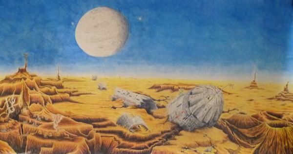 Abgestürztes Raumschiff, ca. 80x140, Buntstift,