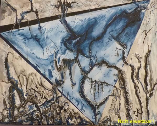 Wasser ist unruhig, zersetzend, der Prozess gärt und steht vor dem Aufbruch ins Licht. Acryll auf Leinwand, ca. 40x50 cm