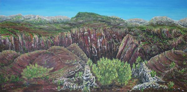 Canyon, Acryl auf Leinwand, ca. 70x140cm, Inspiriert von Gorges Dalius in der Hochprovence