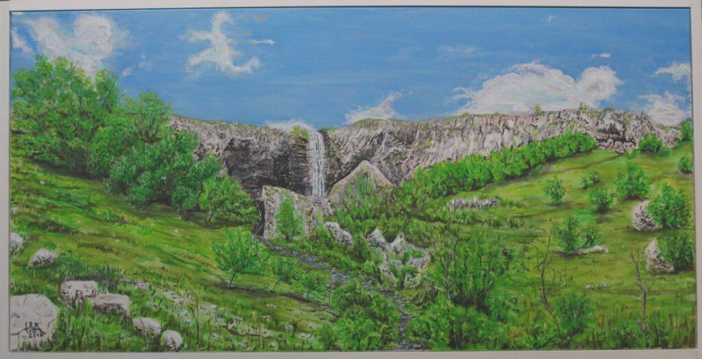 Wasserfall nahe Nasbinal, Frankreich. Ein für mich heiliger Ort, offen zugänglich. Ein Bruch in der Hochebene, wir sind unter dem Wasserfall hergeklettert. 80x160 Acryll auf Leinwand mit Rahmen